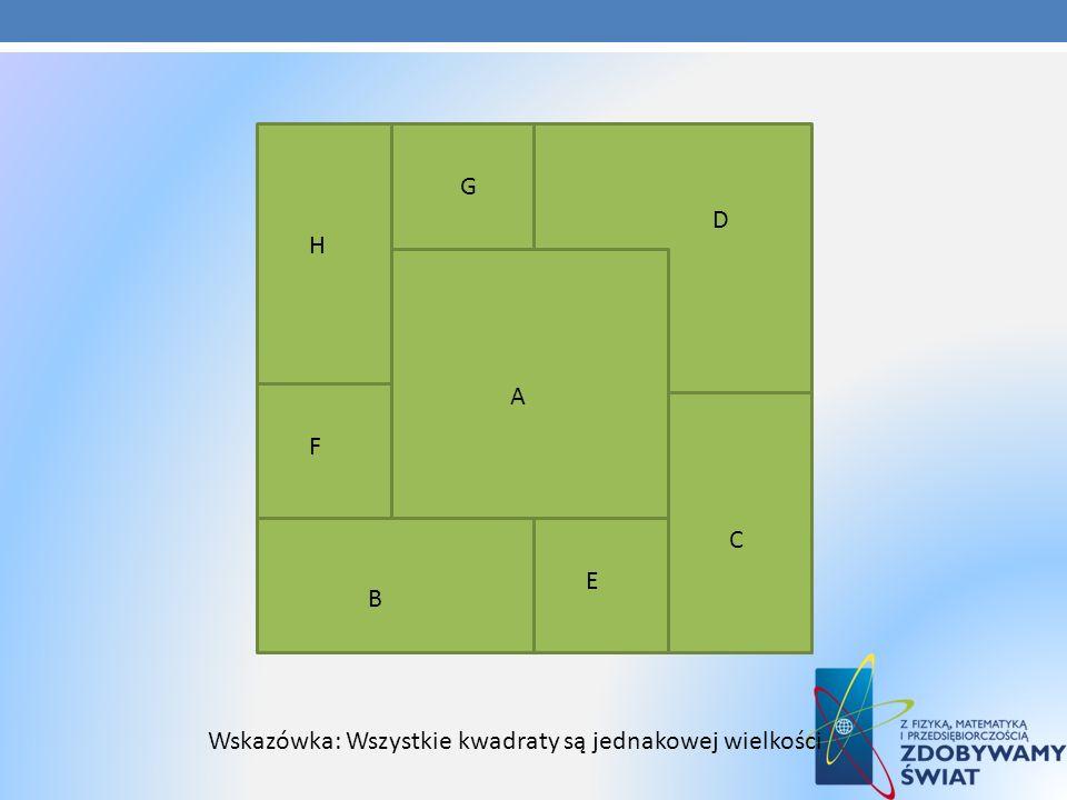 G D H A F C E B Wskazówka: Wszystkie kwadraty są jednakowej wielkości