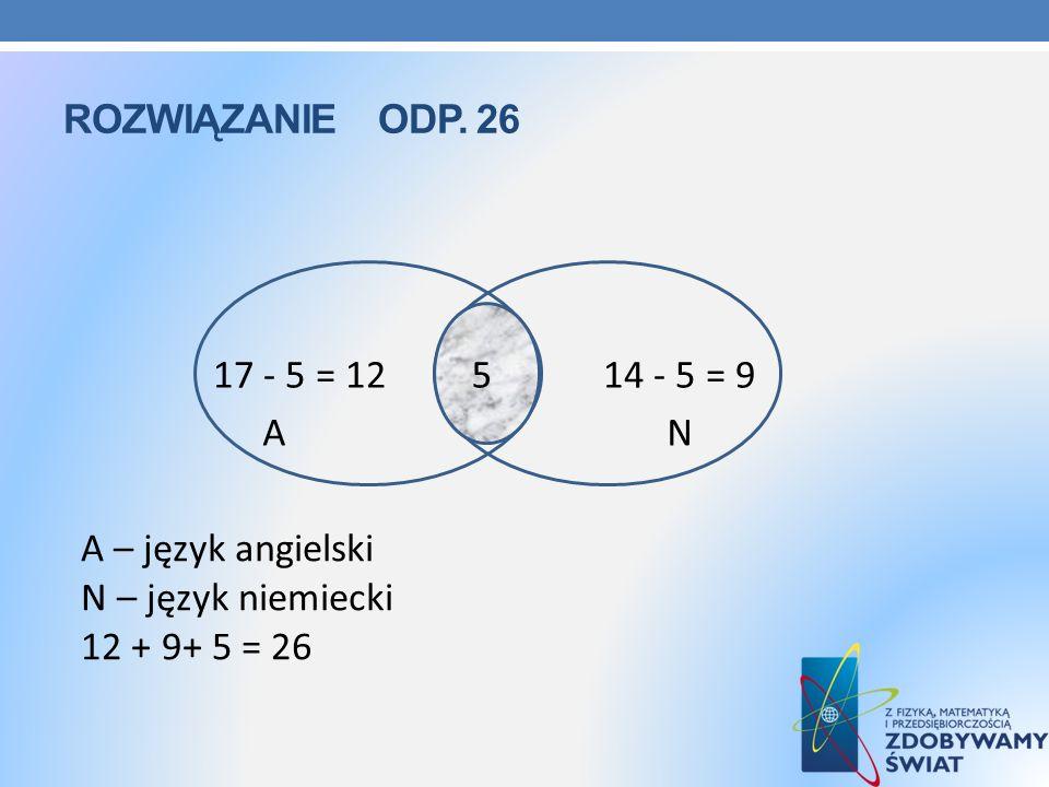 Rozwiązanie ODP. 26 17 - 5 = 12 5 14 - 5 = 9. 5. A N.