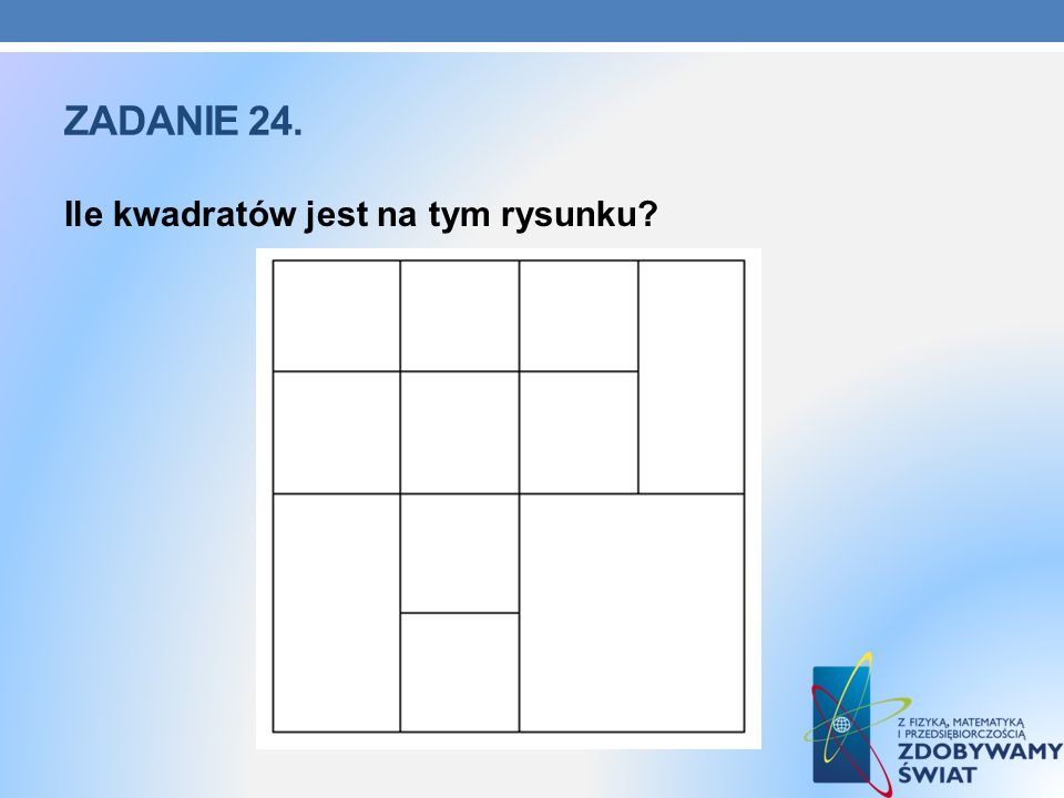 Zadanie 24. Ile kwadratów jest na tym rysunku