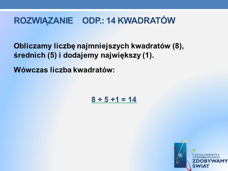 Rozwiązanie ODP.: 14 kwadratów