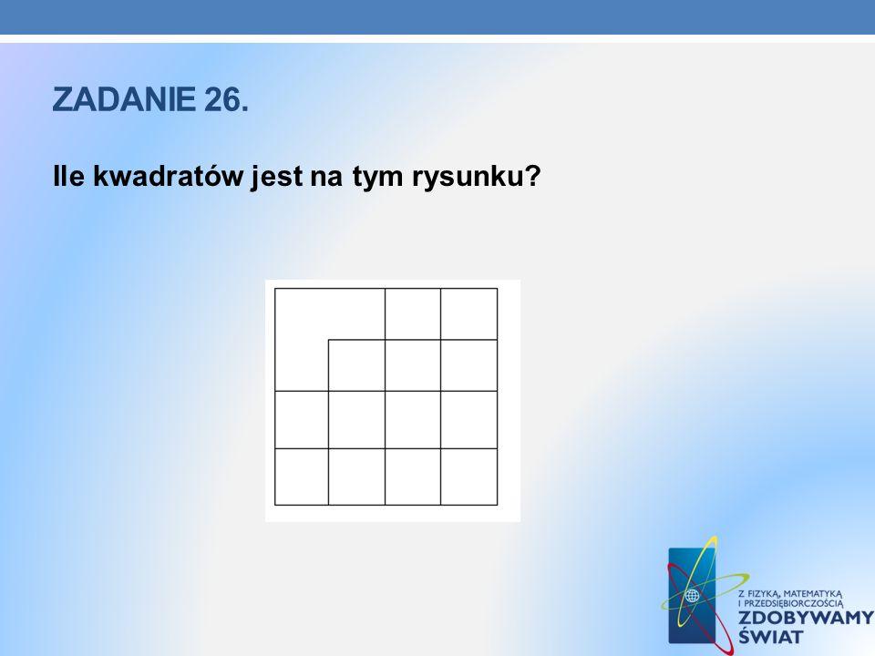Zadanie 26. Ile kwadratów jest na tym rysunku