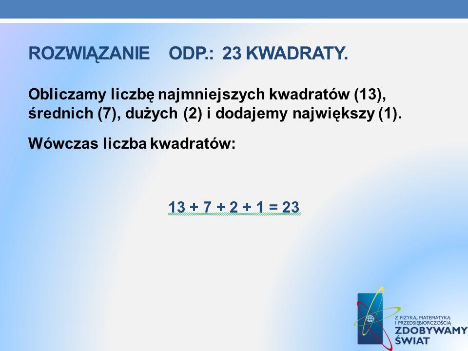 Rozwiązanie odp.: 23 kwadraty.