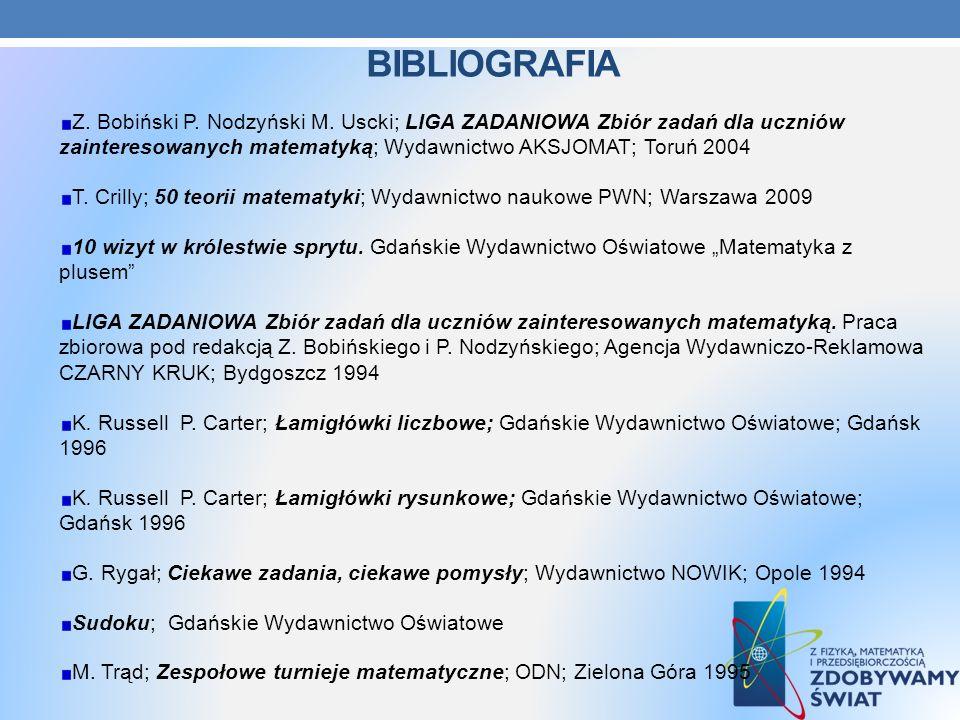Bibliografia Z. Bobiński P. Nodzyński M. Uscki; LIGA ZADANIOWA Zbiór zadań dla uczniów zainteresowanych matematyką; Wydawnictwo AKSJOMAT; Toruń 2004.