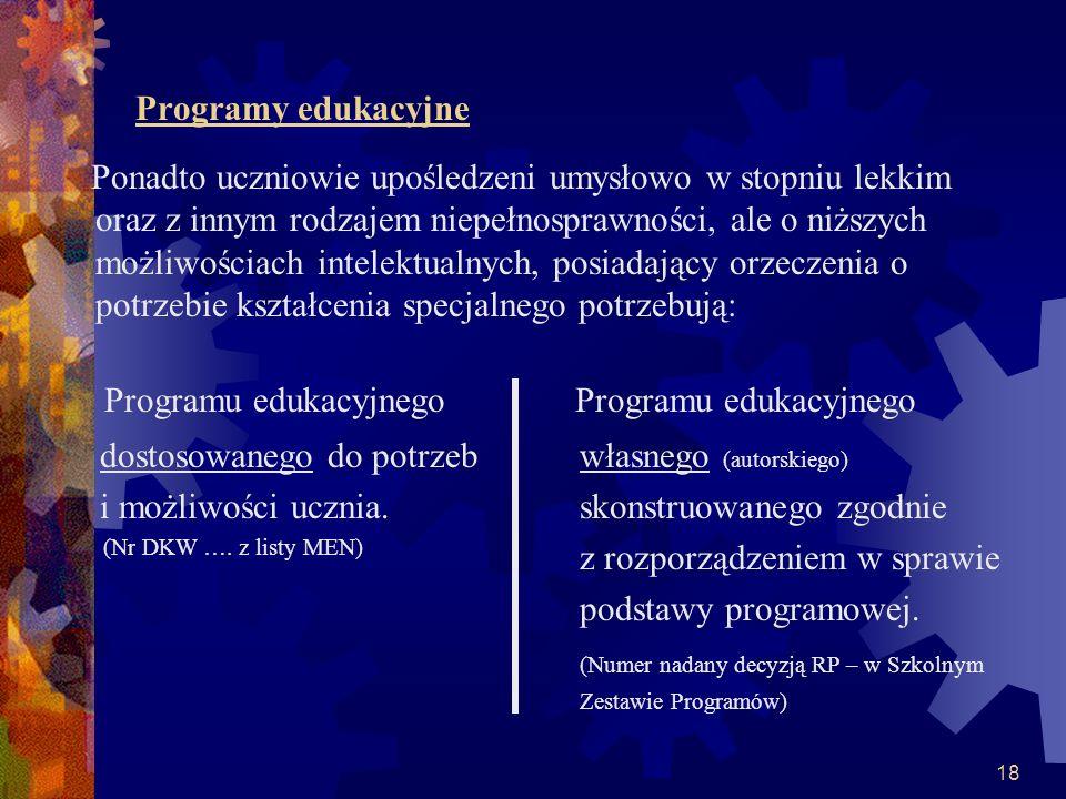 Programu edukacyjnego Programu edukacyjnego