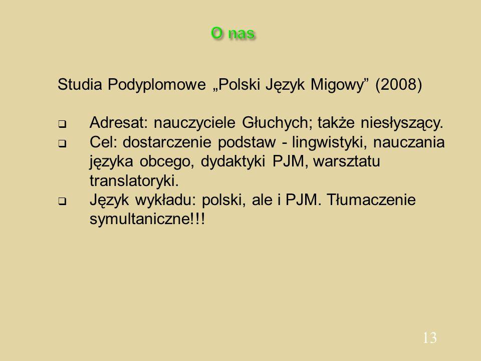"""O nas Studia Podyplomowe """"Polski Język Migowy (2008) Adresat: nauczyciele Głuchych; także niesłyszący."""