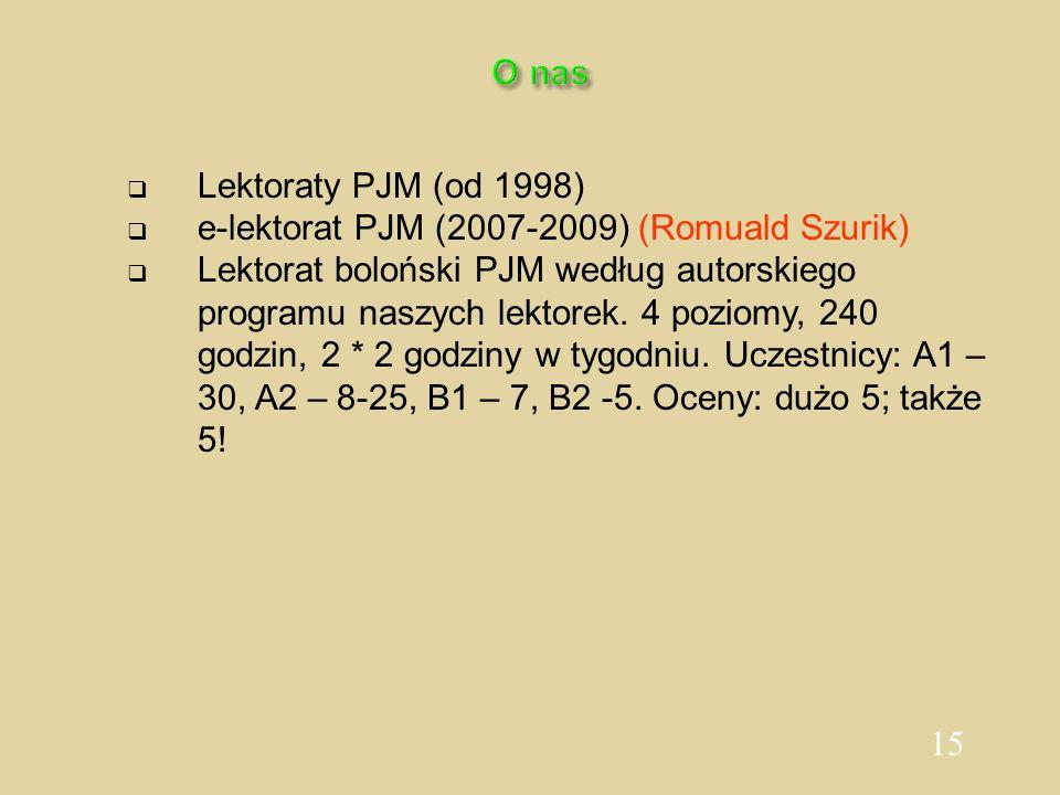 O nasLektoraty PJM (od 1998) e-lektorat PJM (2007-2009) (Romuald Szurik)