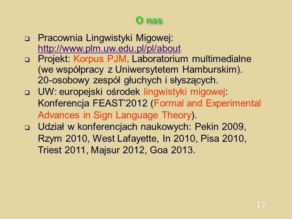 Pracownia Lingwistyki Migowej: http://www.plm.uw.edu.pl/pl/about