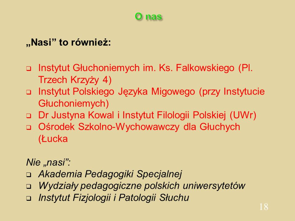 """O nas""""Nasi to również: Instytut Głuchoniemych im. Ks. Falkowskiego (Pl. Trzech Krzyży 4)"""