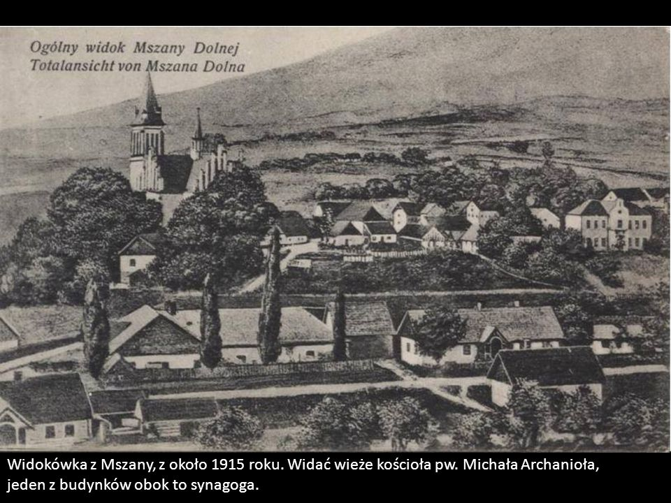 Widokówka z Mszany, z około 1915 roku. Widać wieże kościoła pw