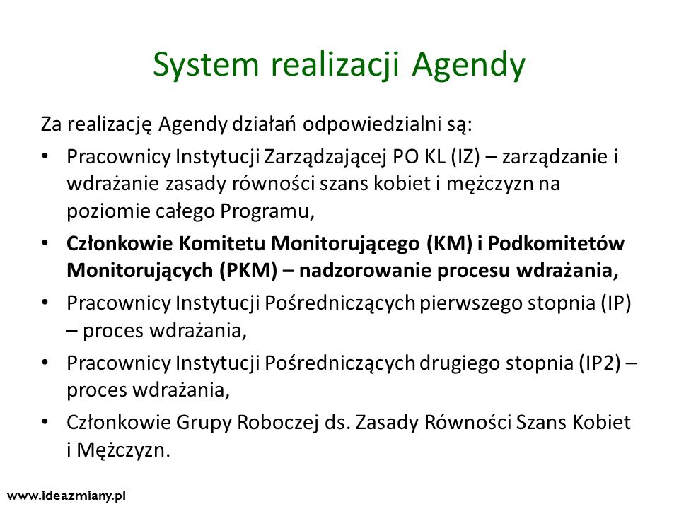 System realizacji Agendy