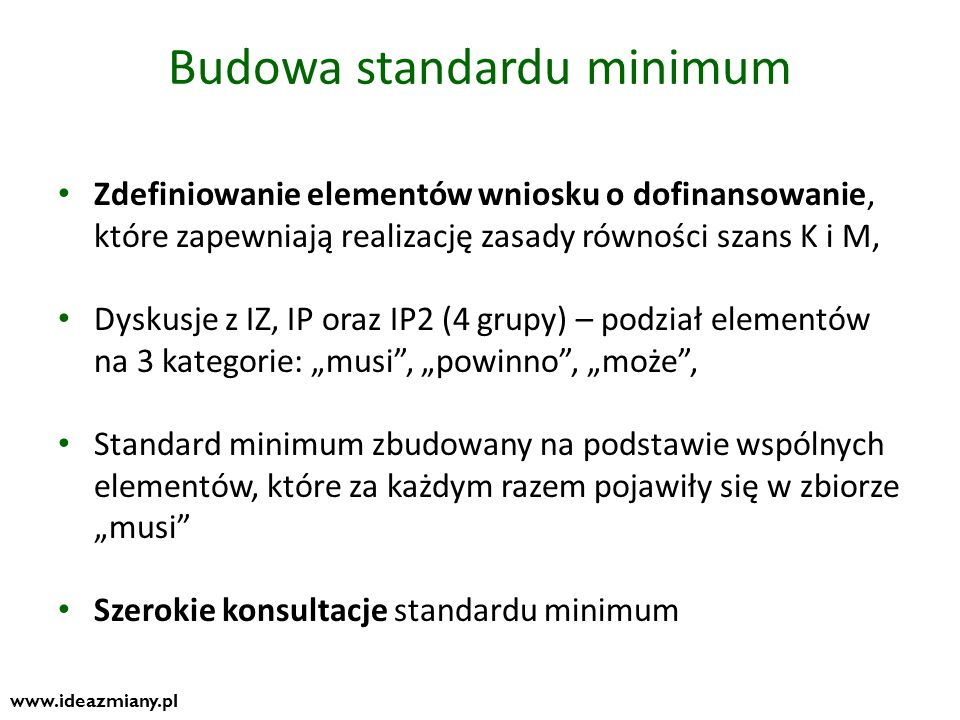 Budowa standardu minimum