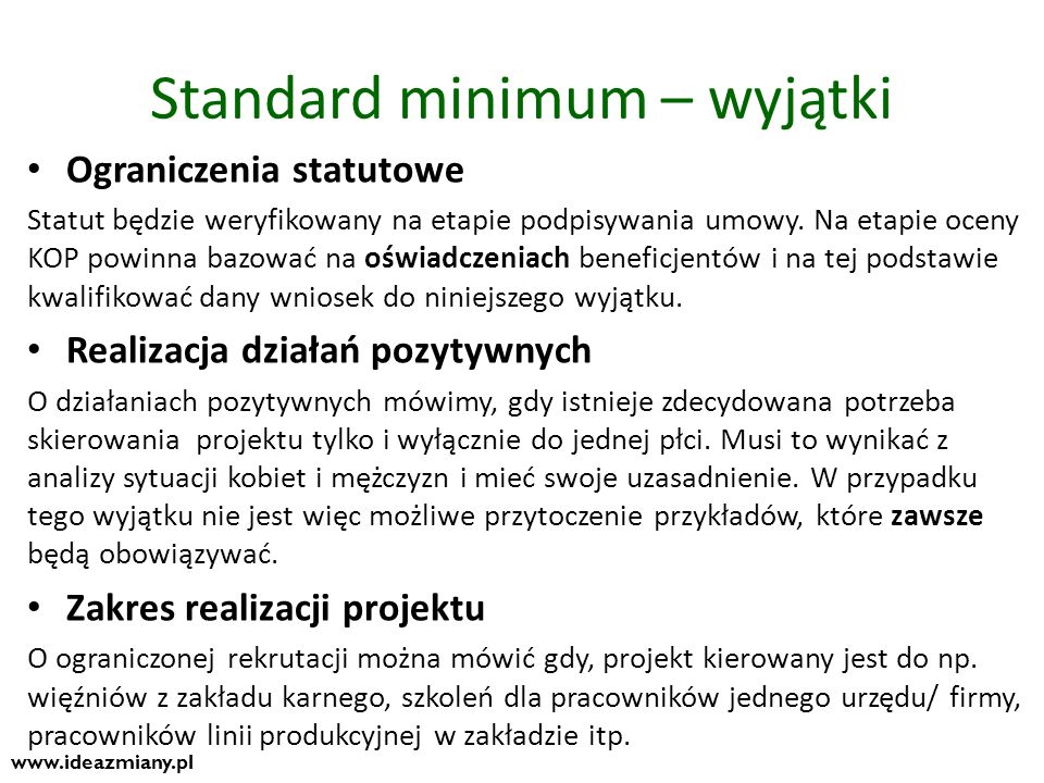 Standard minimum – wyjątki