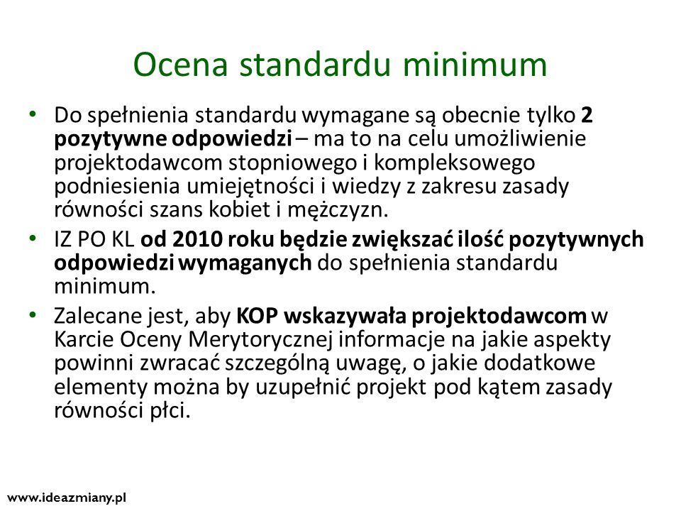 Ocena standardu minimum