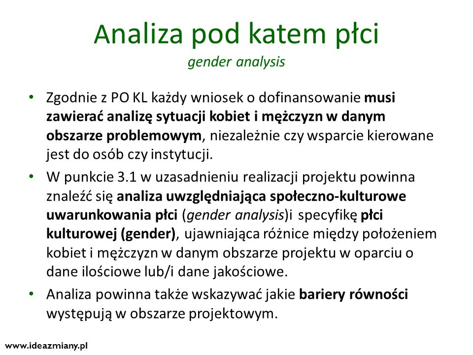 Analiza pod katem płci gender analysis
