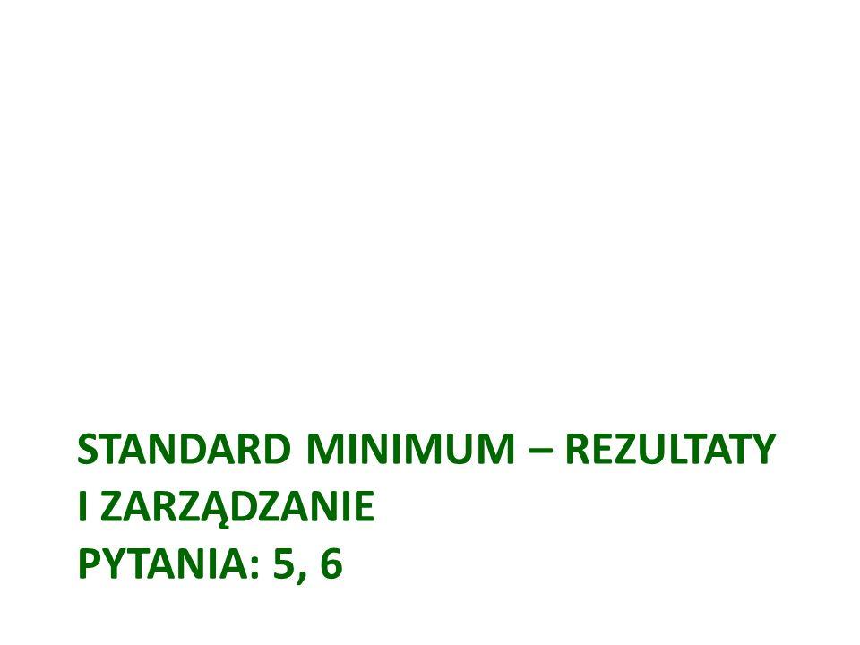Standard minimum – rezultaty i zarządzanie Pytania: 5, 6