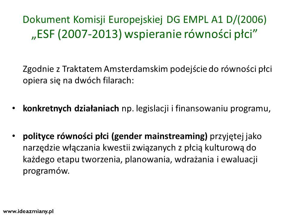 """Dokument Komisji Europejskiej DG EMPL A1 D/(2006) """"ESF (2007-2013) wspieranie równości płci"""
