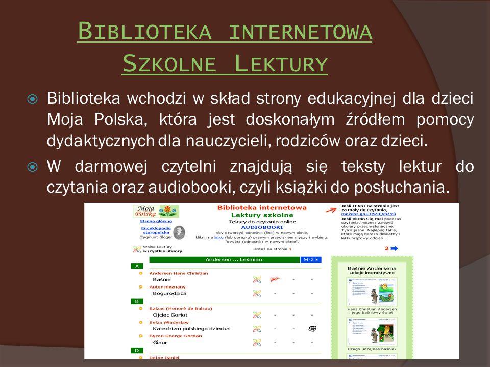 Biblioteka internetowa Szkolne Lektury