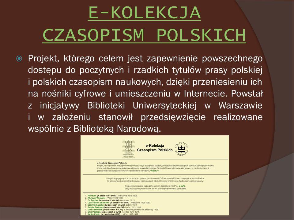 E-KOLEKCJA CZASOPISM POLSKICH