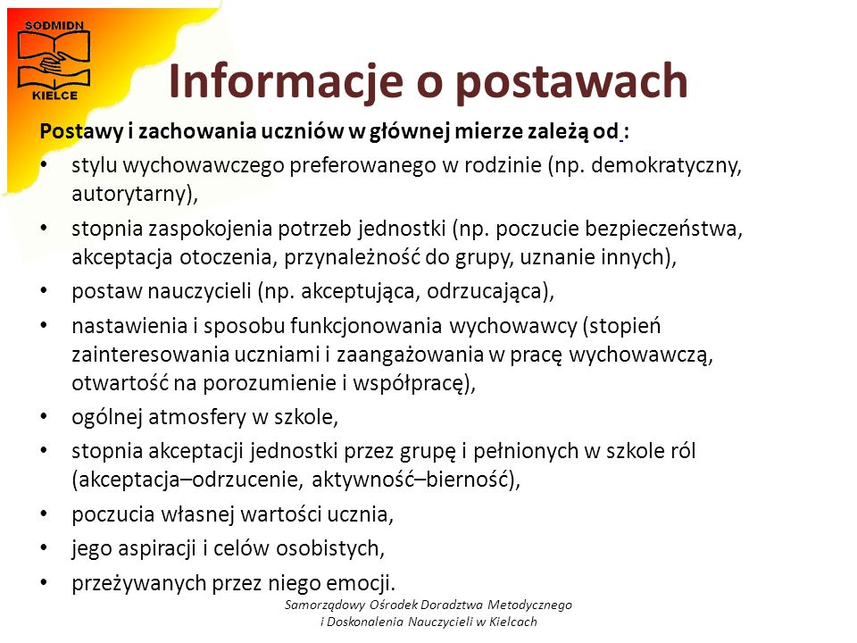 Informacje o postawach