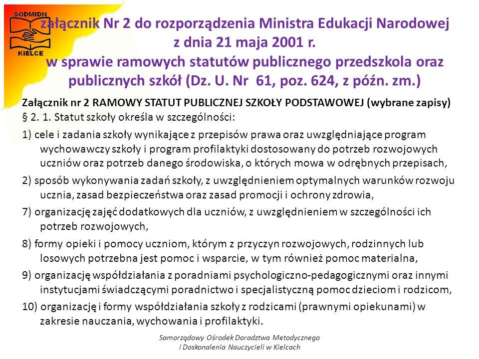 załącznik Nr 2 do rozporządzenia Ministra Edukacji Narodowej z dnia 21 maja 2001 r. w sprawie ramowych statutów publicznego przedszkola oraz publicznych szkół (Dz. U. Nr 61, poz. 624, z późn. zm.)