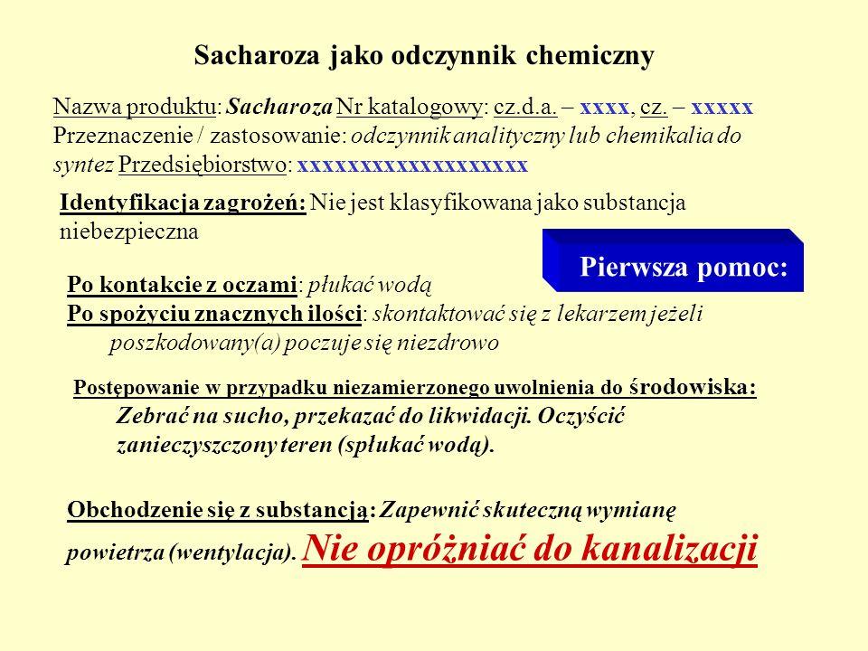 Sacharoza jako odczynnik chemiczny
