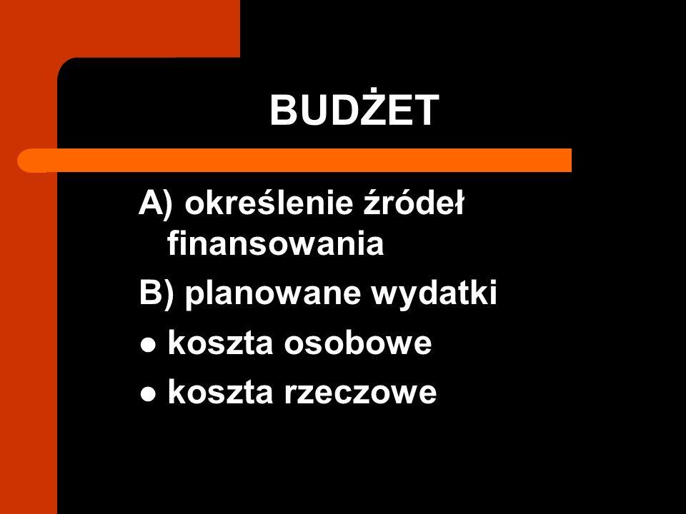 BUDŻET A) określenie źródeł finansowania B) planowane wydatki