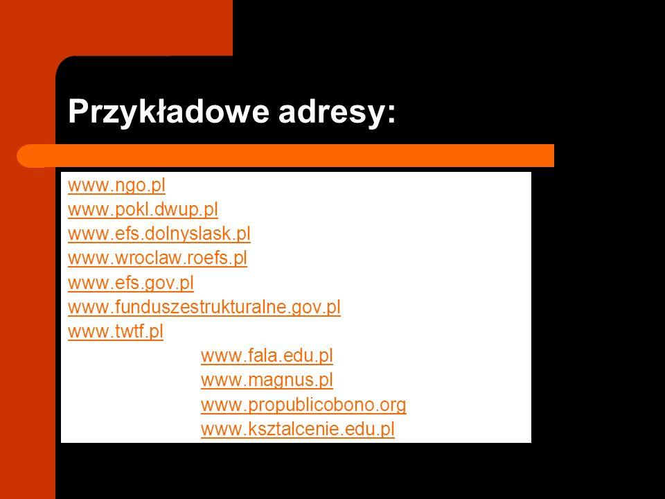 Przykładowe adresy: www.ngo.pl www.pokl.dwup.pl www.efs.dolnyslask.pl