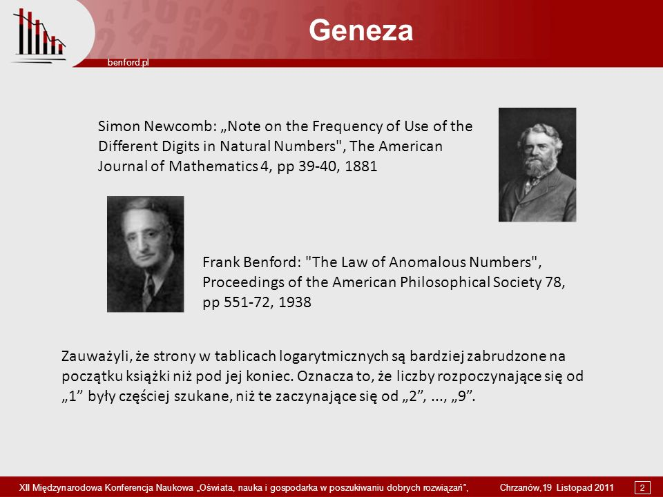 "Geneza Simon Newcomb: ""Note on the Frequency of Use of the"
