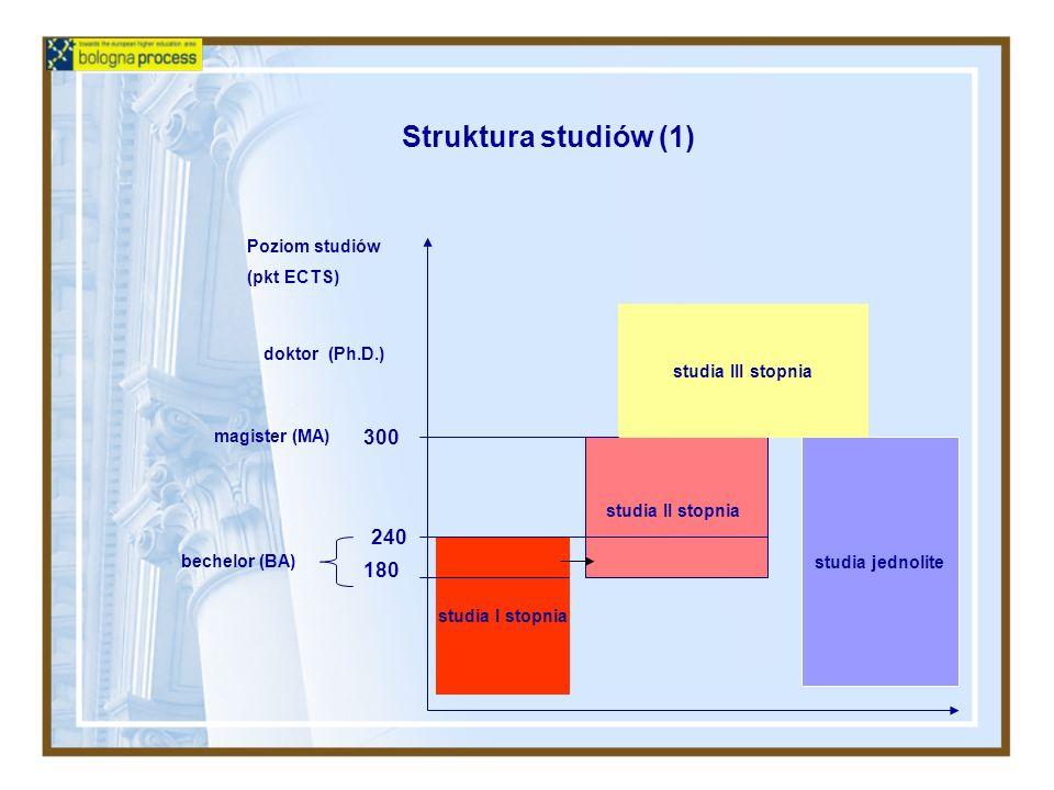 Struktura studiów (1) 300 240 180 Poziom studiów (pkt ECTS)