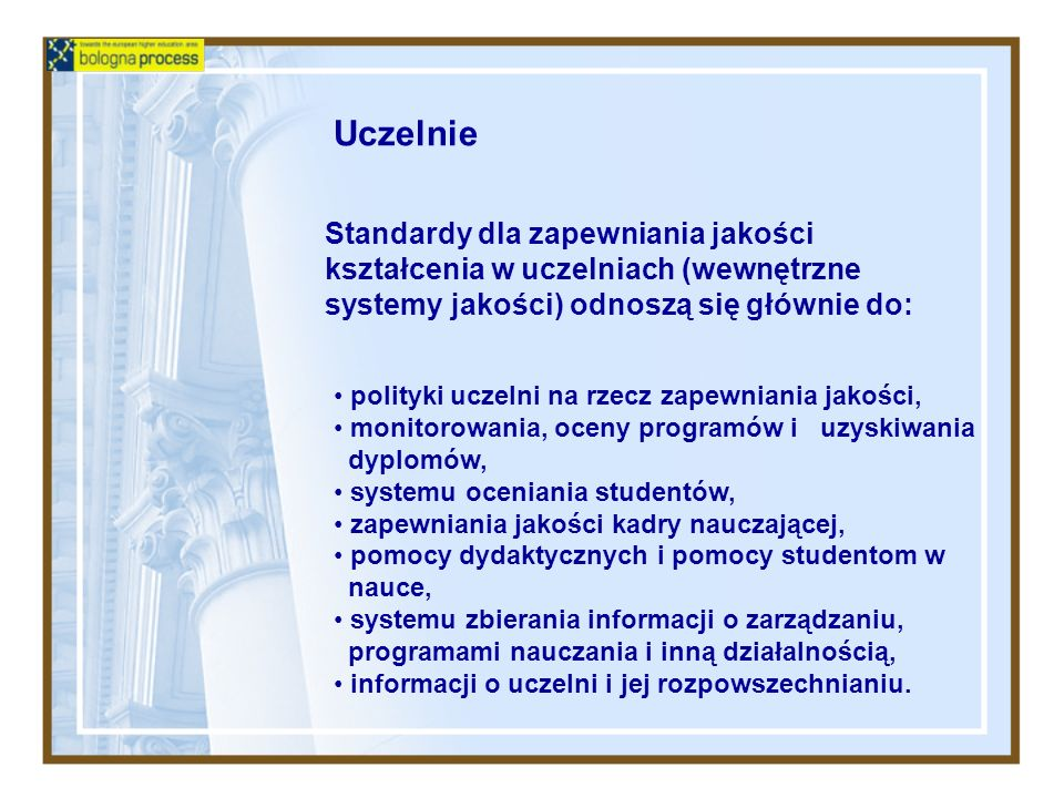 UczelnieStandardy dla zapewniania jakości kształcenia w uczelniach (wewnętrzne systemy jakości) odnoszą się głównie do:
