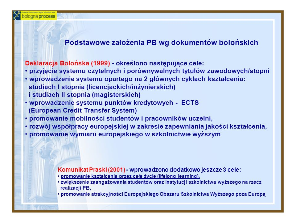 Podstawowe założenia PB wg dokumentów bolońskich