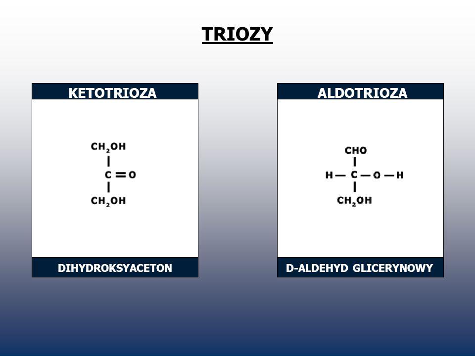 TRIOZY KETOTRIOZA ALDOTRIOZA DIHYDROKSYACETON D-ALDEHYD GLICERYNOWY