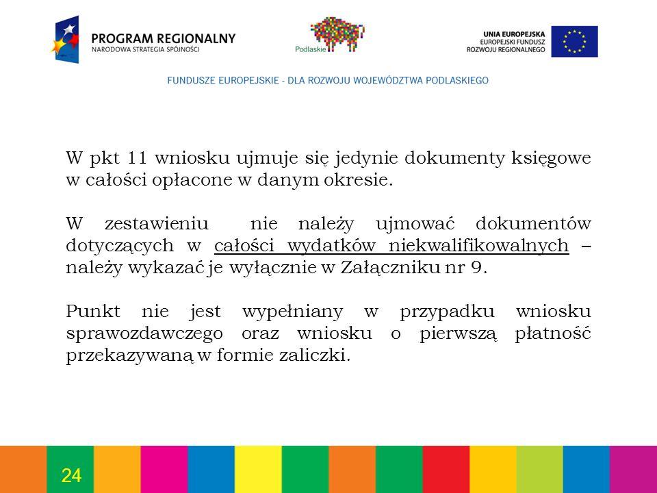 W pkt 11 wniosku ujmuje się jedynie dokumenty księgowe w całości opłacone w danym okresie.