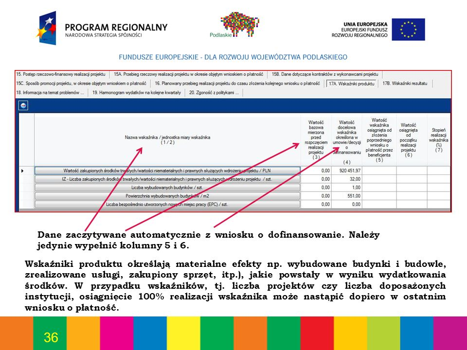 Dane zaczytywane automatycznie z wniosku o dofinansowanie
