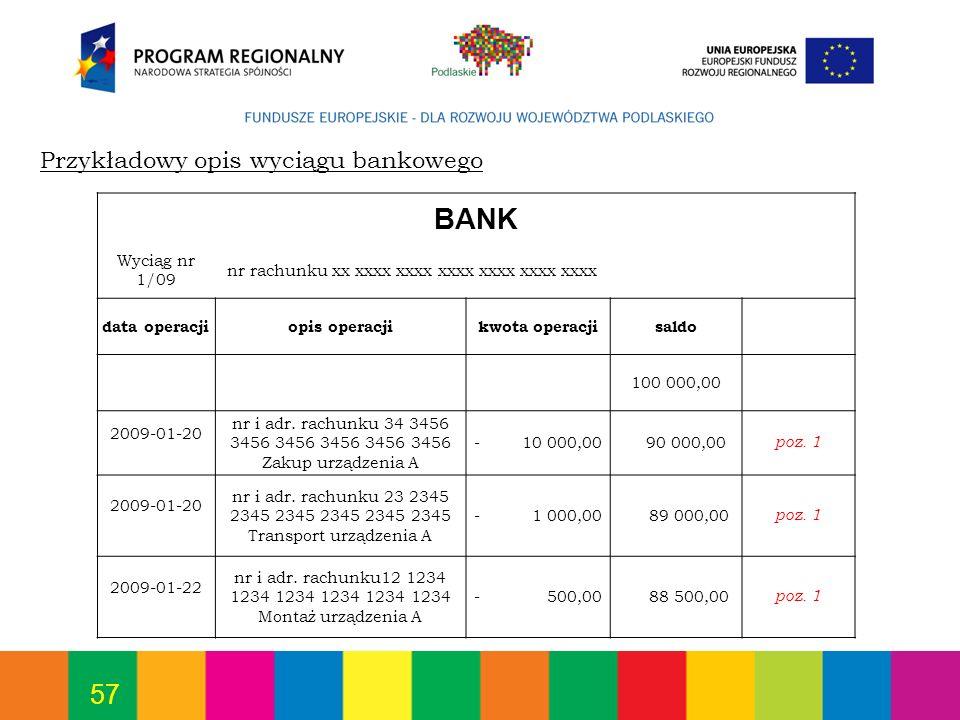BANK Przykładowy opis wyciągu bankowego Wyciąg nr 1/09