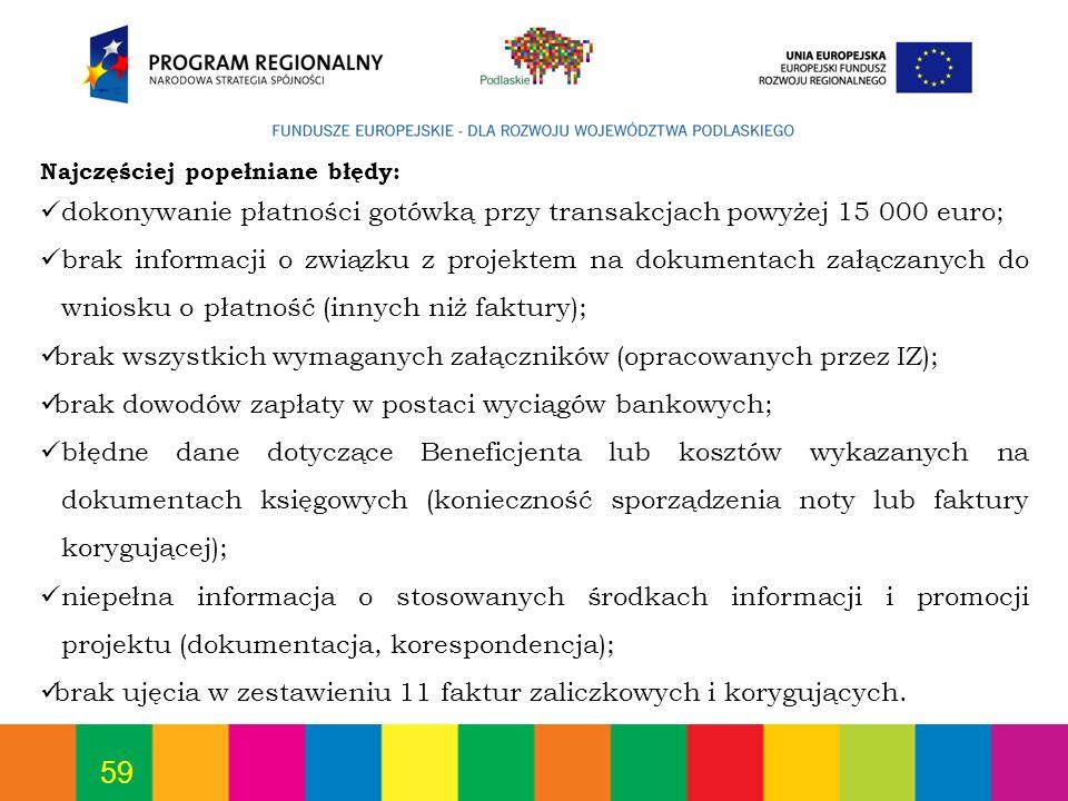 dokonywanie płatności gotówką przy transakcjach powyżej 15 000 euro;