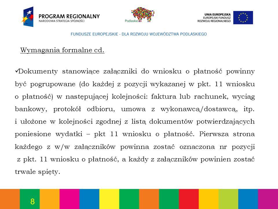 Wymagania formalne cd.