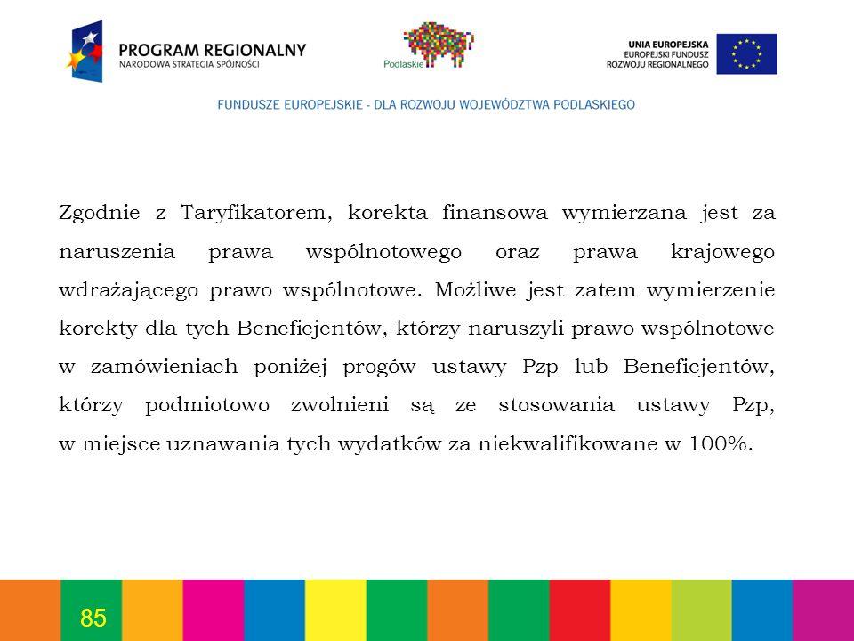Zgodnie z Taryfikatorem, korekta finansowa wymierzana jest za naruszenia prawa wspólnotowego oraz prawa krajowego wdrażającego prawo wspólnotowe.