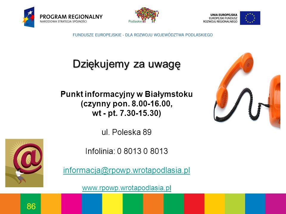 Punkt informacyjny w Białymstoku (czynny pon. 8.00-16.00,
