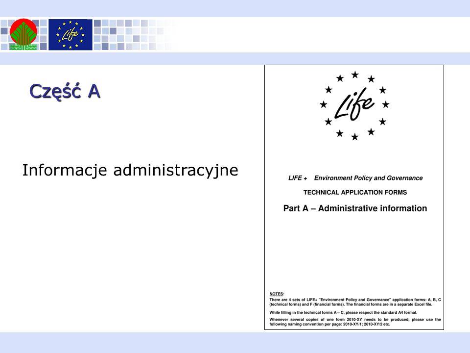 Część A Informacje administracyjne