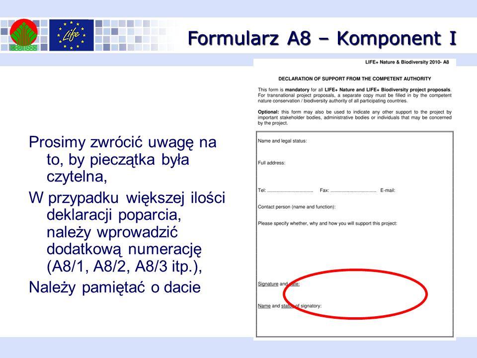 Formularz A8 – Komponent I