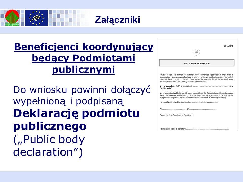 Beneficjenci koordynujący będący Podmiotami publicznymi