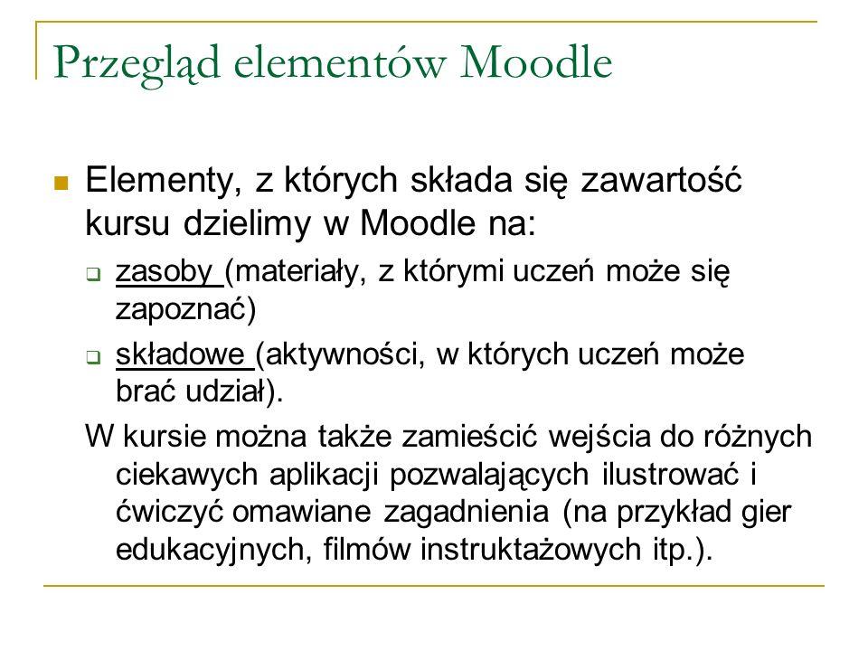 Przegląd elementów Moodle