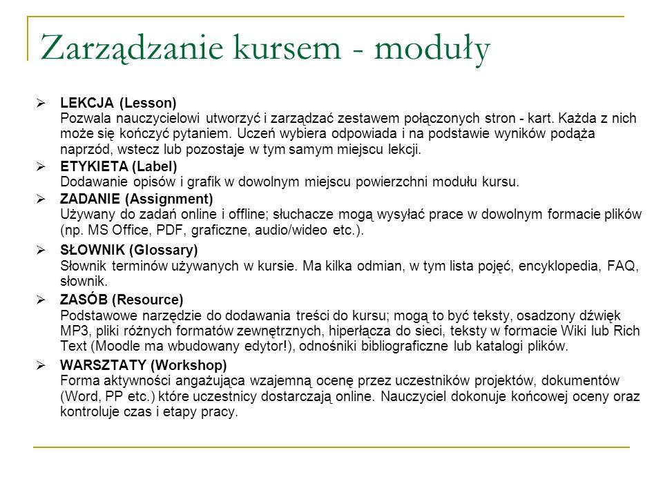 Zarządzanie kursem - moduły