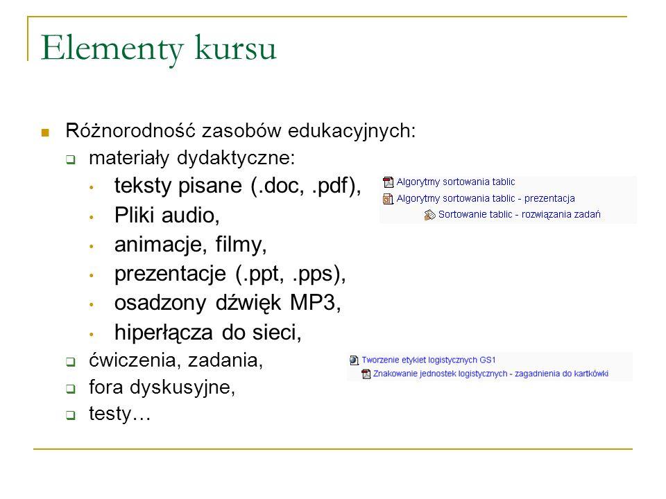 Elementy kursu teksty pisane (.doc, .pdf), Pliki audio,