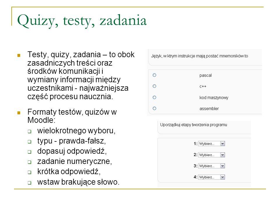 Quizy, testy, zadania