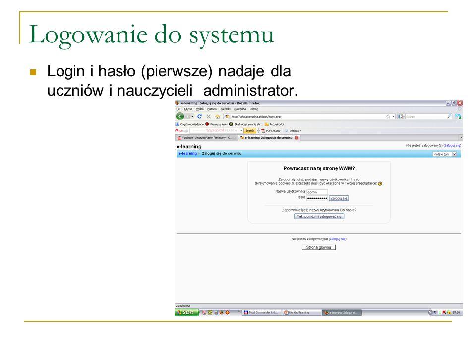 Logowanie do systemu Login i hasło (pierwsze) nadaje dla uczniów i nauczycieli administrator.