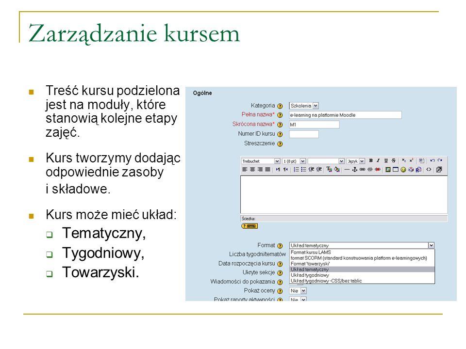 Zarządzanie kursem Tematyczny, Tygodniowy, Towarzyski.