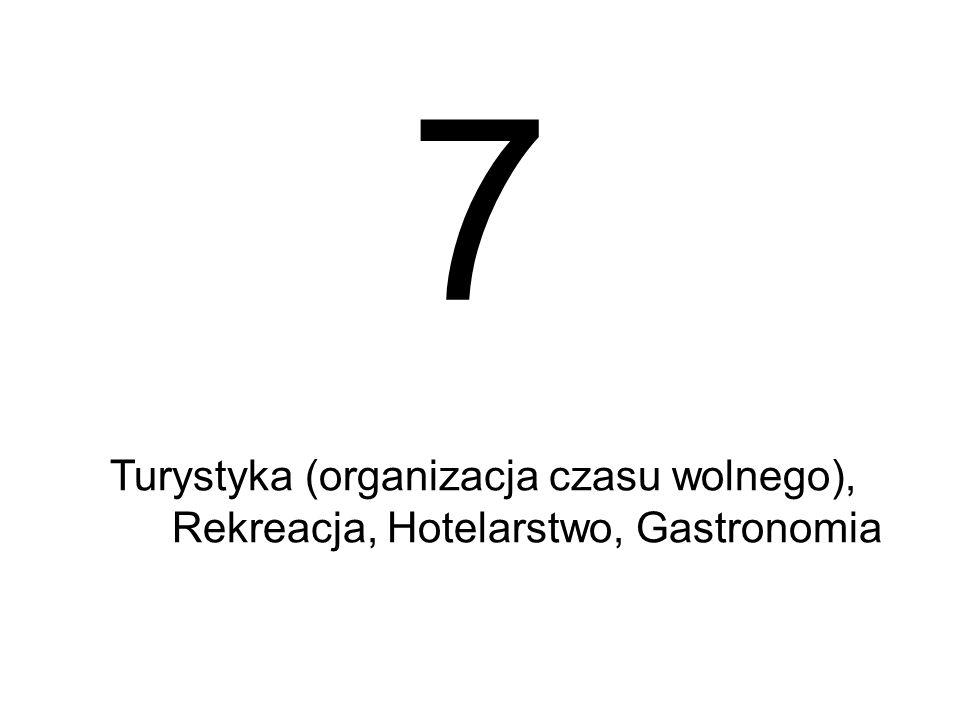 7 Turystyka (organizacja czasu wolnego), Rekreacja, Hotelarstwo, Gastronomia 34