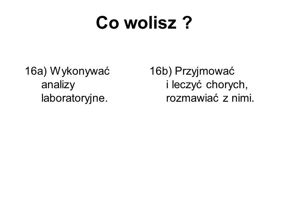 Co wolisz 16a) Wykonywać analizy laboratoryjne.